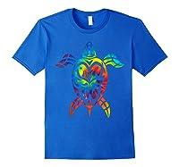 Save Sea Turtles Rainbow Tie Dye Hawaiian Shirts Royal Blue