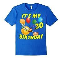 Funny Emoji It's My 30th Birthday 30 Years Old Shirts Royal Blue