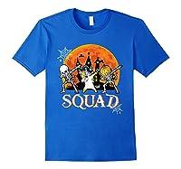 Skeleton Unicorn Pumpkin Dabbing Squad Team Halloween Tshirt Royal Blue