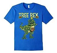 Tree Rex Shirt Christmas T Rex Dinosaur Pajama T-shirt Royal Blue