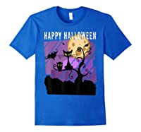 Spoopy Funny Halloween Black Cat Witch Hallow S Eve Joke T Shirt Royal Blue