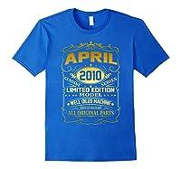 April 2010 Vintage 9th Birthday 9 Years Old Gift Shirt Royal Blue