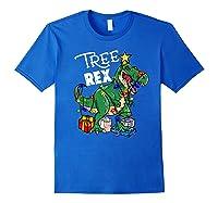 Tree Rex Dinosaur Christmas Gift T Rex Pajamas Xmas Premium T-shirt Royal Blue