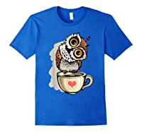 Cute Owl Cartoon Bird Hand Draw T Shirt Design Royal Blue