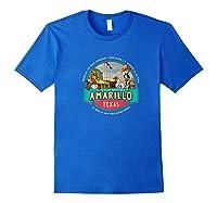 Amarillo Tx Texas Historic Route 66 Longhorn Cowboy Souvenir Premium T-shirt Royal Blue