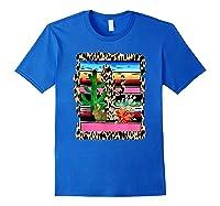Fiesta Serape Cheetah Cactus Flower Cacti Rabbit T Shirt Royal Blue