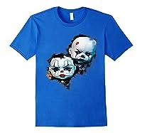 Creepy Evil Clown Halloween T-shirt Royal Blue