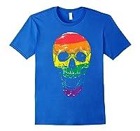 Lgbt Gay Pride T-shirt Skull Rainbow Royal Blue
