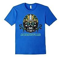 Jacksonville Football Helmet Sugar Skull Day Of The Dead T Shirt Royal Blue