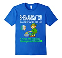 Shenanigator Tshirt Saint Patrick Day Irish Four Leaf Clover Royal Blue