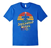 Vintage Saints Awesome Since 1967 New Orleans Football Retro Shirts Royal Blue