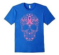 Sugar Skull Pink Ribbon Calavera Breast Cancer Awareness T Shirt Royal Blue