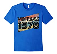 Vintage 1978 - Retro 40th T Shirt Gift 40 Yrs Years Old Royal Blue