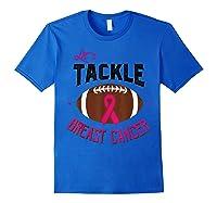 Breast Cancer Awareness Month Football Pink Ribbon T Shirt Royal Blue