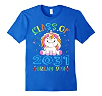 Class Of 2031 Grow With Me Unicorn Back To School Shirts Royal Blue