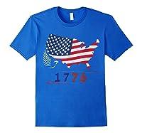 B Ross 1776 American Flag Eagle 4th Of July Shirts Royal Blue