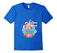 Pink Flamingo Believe Hope Breast Cancer Awareness Month T Shirt Royal Blue