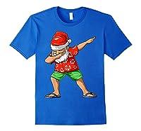 Dabbing Santa Christmas In July Party Hawaiian Santa Beach Shirts Royal Blue
