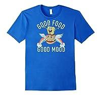 Spongebob Squarepants Good Food Good Mood Text Poster Baseball Shirts Royal Blue