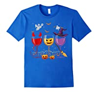 Three Glasses Of Wines Funny Halloween Wine Lover Shirts Royal Blue