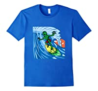 Area-51 Alien Surfing Ocean Wave Lazy Surfer Halloween Gift Tank Top Shirts Royal Blue