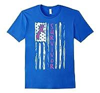Us Flag Survivor Breast Cancer Awareness Month Pink Ribbon T Shirt Royal Blue
