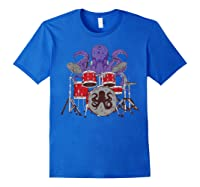 Octopus Drumming Cute Sea Drummer Lover Funny Gift Shirts Royal Blue