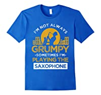 Playing The Saxophone Marching Band Jazz Music Shirts Royal Blue
