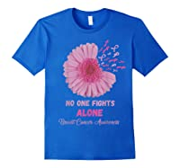 Breast Cancer Awareness Month Pink Ribbons Flower T T Shirt Royal Blue