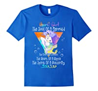 April Girl The Soul Of A Mermaid The Fire Of A Lioness Shirts Royal Blue