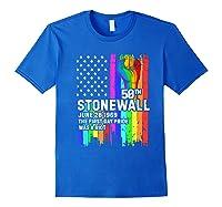 Stonewall Riots 50th Lbgtq Gay Pride American Flag Shirts Royal Blue