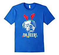 Oh Deer Funny American Bulldog Xmas Premium T-shirt Royal Blue
