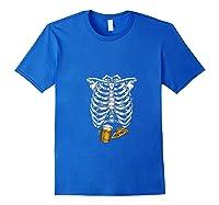 Funny Halloween Skeleton Pregnancy Pizza Beer Xray Apparel Shirts Royal Blue