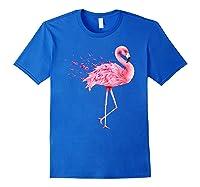Cute Flamingo Pink Ribbon Breast Cancer Awareness T Shirt Royal Blue