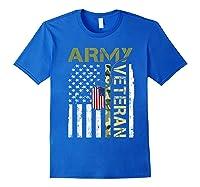 American Flag Camo Proud Us Army Veteran T-shirt Royal Blue