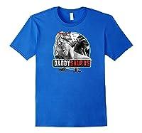 S Daddysaurus Shirt Fathers Day Gift T-rex Dad Dinosaur Raglan Baseball Tee Royal Blue