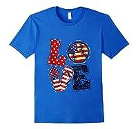 Love Softball Usa Flag 4th Of July Flip Flop Softball Usa Shirts Royal Blue