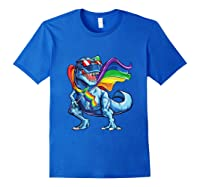 Dinosaur Gay Pride Lgbt Rainbow Flag Lesbian Bisexual T Rex Shirts Royal Blue