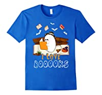Halloween Day Cute Boo Love Books Tee Funny Librarian Gifts T Shirt Royal Blue