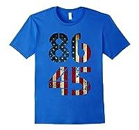 8645 Impeach Trump American Flag T Shirt Royal Blue