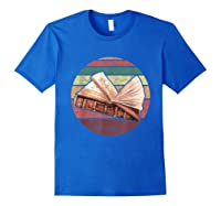 Bookworm Vintage Retro Bookish Reading Read A Book Day Gift T Shirt Royal Blue
