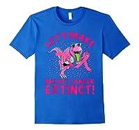 Dinosaur Pink Ribbon Breast Cancer Awareness Month October T Shirt Royal Blue