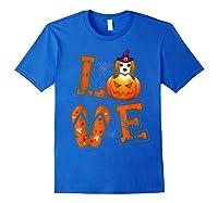 Love Beagle Pumpkin Halloween T-shirt Halloween Gifts Royal Blue