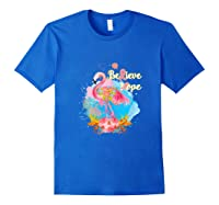 Pink Flamingo Believe Hope Breast Cancer Awareness Month Tank Top Shirts Royal Blue