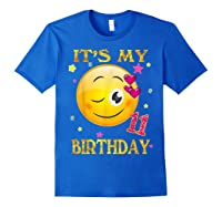 It's My 11th Birthday Girl 11 Years Old Gift Cute Face Shirts Royal Blue