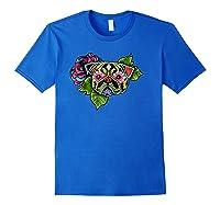 Black Pug Day Of The Dead Sugar Skull Dog Shirts Royal Blue