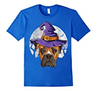 Boxer Witch Hat Funny Halloween Gifts Dog Lover Girls T-shirt Royal Blue