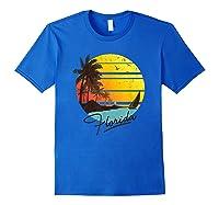 Florida Sunshine State Retro Summer Tropical Beach Shirts Royal Blue