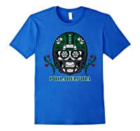 Philadelphia Football Helmet Sugar Skull Day Of The Dead T Shirt Royal Blue