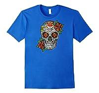 Dia De Los Muertos / Day Of The Dead Sugar Skull Graphic Raglan Baseball Ts Shirts Royal Blue